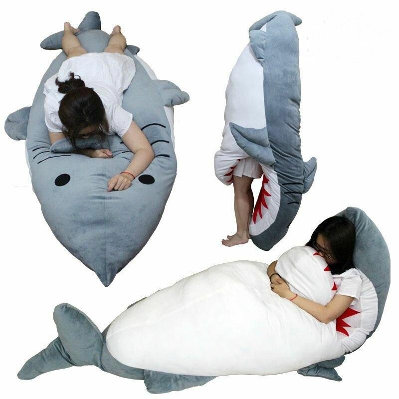 Giant Huge Shark Stuffed Plush Dakimakura Hugging Body Pillow Sleeping Bag Gifts Plush Nano Doll Unisex