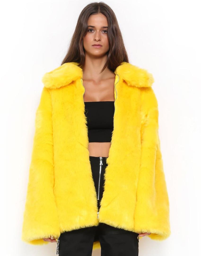 Winter Autumn Womens Yellow Soft Faux Rabbit Fur Jackets Warm Turn Down Collar Furry Coats Large Size Fake Fur Outwears D502