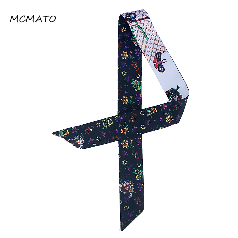 2019 New Small Scarf Honeybee Bowknot Floral Print Women Silk Scarf Fashion Head Scarf Brand Handle Bag Ribbons Long Scarves