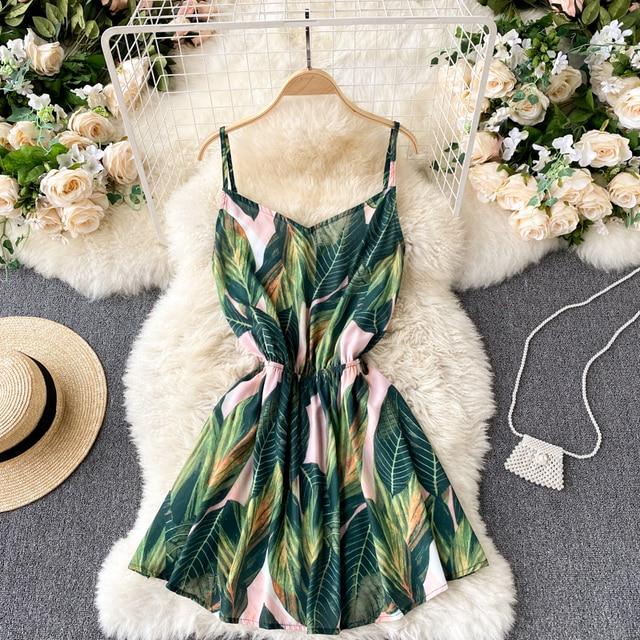 New Summer Sexy Female Spaghetti Strap Backless Mini Dress Casual Women Floral Print Dress Vintage Bohemia Beach Dress