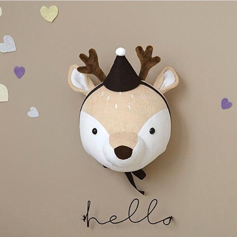 cheapest Plush Animal Heads Elephant Bear Deer Wall Decor For Children Baby Girl christmas Birthday stuffed Toys Nursery Room Decoration