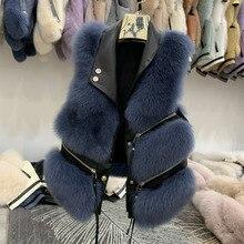 Vrouwen Korte Natuurlijke Fox Fur Vest Vrouwelijke Mouwloze Echt Bont Mode Jas Winter Warm Vest Femme