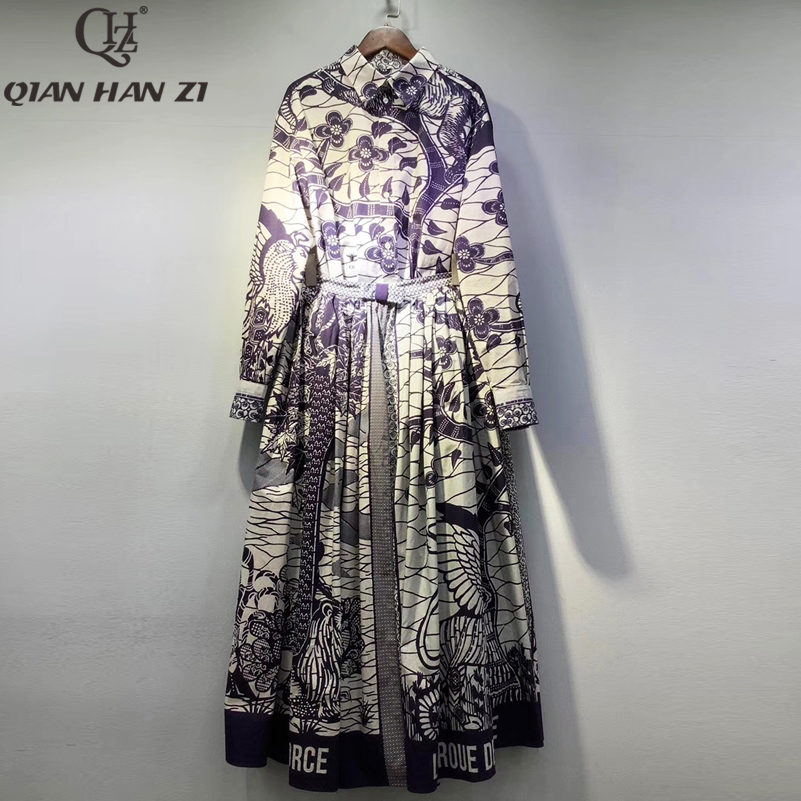 Qian Han Zi 2020 Designer Runway 100% Cotton Fashion Suit Womens Long-sleeved Shirt And Patterned Long/Maxi Skirt 2-piece Set