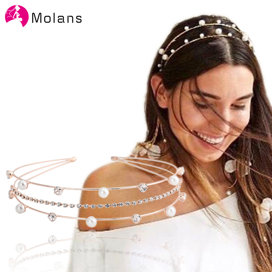 Molans Silver Rhinestone Diadem Headbands Crystal Tiara Bridal Hairband With Pearls Gold Sturdy Band Women Hairbands Headbands