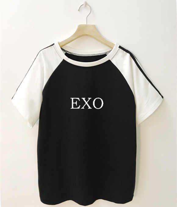 Camiseta Kpop EXO Blackpink, camisetas de marca para hombre y mujer, camisetas de algodón informales con letras impresas de verano para hombre y mujer, camisetas de Tallas grandes