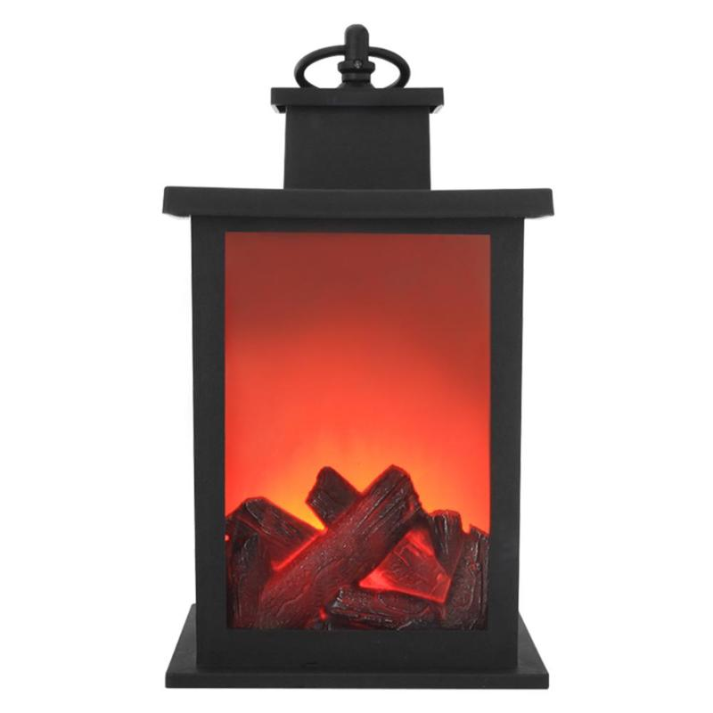 Retro LED Flame Lantern Lamps Simulated Fireplace AA Battery Courtyard Room Decor