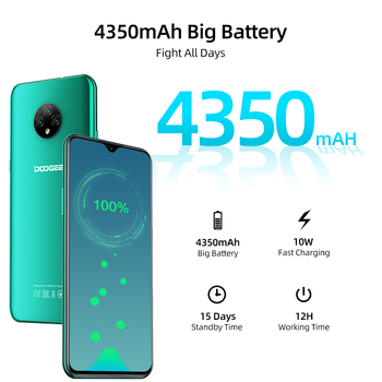 DOOGEE X95 Cellphones 6.52''MTK6737 16GB ROM Dual SIM 13MP Triple Camera 4350mAh SmartPhones Mobile Phone Android 10 OS 4G-LTE 4