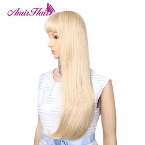 Image 4 - Amir Long Straight Light Blonde Synthetic Wigs With Bangs Cosplay Hair For Black/White Women High Temperature Fiber