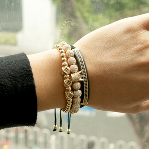 Image 5 - 3pcs/Set Hip Hop Gold Crown Bracelets 8MM Cubic Micro Pave CZ Ball Charm Braided Braiding Man Luxury Jewelry Pulseira Bileklik