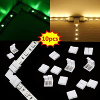 Conector para tira de LED sin soldadura, 2/4-pin, 10 Uds., 5050 RGB, Divisor de Cable de ángulo recto