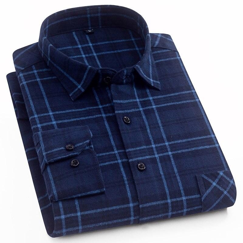 Aoliwen 2019 Men Casual Palid Shirt 100%cotton Long Sleeve Botton Down Men 19colors Soft Comfortable Slim Fit Good Quality