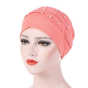 Image 4 - Мусульманский тюрбан для женщин, хлопчатобумажный тюрбан, Женская химиотерапия шляпа, головной убор, простой тюрбан, хиджаб, Женский тюрбан, тюрбан с бисером