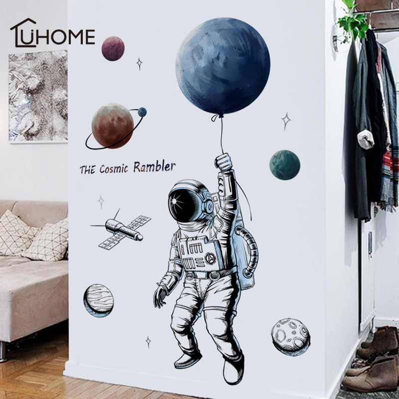 Space Kids Astronaut Cool Bedroom Smashed Wall Decal 3d Art Stickers Vinyl Room Wall Decor Home Living Sultraline Id