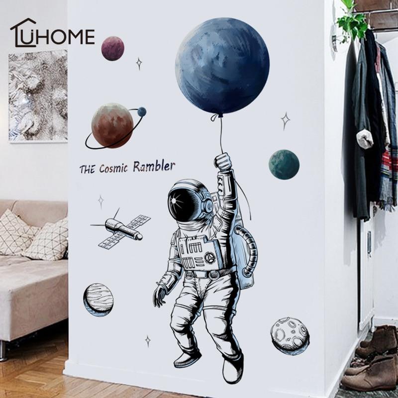Criativo Planeta Espaço Astronauta Adesivo de Parede para Quartos de Crianças Decalques de Parede Do Quarto do Menino Diy Arte Mural Pvc Papel De Parede Cartazes