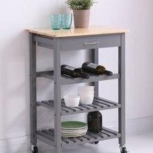 Gris-marron 58x40x84cm trois couches étagère avec tiroir ménage salle à manger étagère Portable multifonction cuisine chariot ménage HWC
