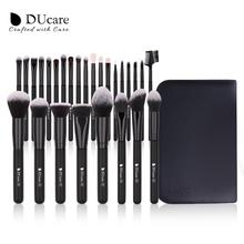 DUcare 27 sztuk pędzle do makijażu fundacja Powder Eyeshadow wyróżnij kontur pędzel do brwi naturalne włosy zestaw pędzli do makijażu z przypadku