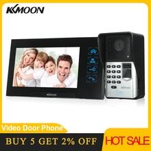 KKmoon 7 นิ้วโทรศัพท์ประตูแบบมีสาย Visual Video Intercom Two Way Intercom ลายนิ้วมือกันน้ำกลางแจ้ง IR กล้อง