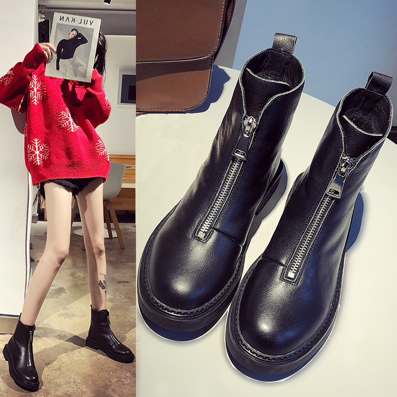 Winter Genuine Leather Front Zipper Women's Boots Platform Warm Martin Boots New Round Head Fashion Comfortable Casual Booties
