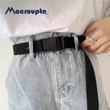 Cinturón ajustable unisex para adultos, estilo coreano, de lona, largo y elástico, color liso, hebilla de plástico, vintage