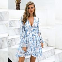 цена на New Women's Dresses Deep V-neck Sexy Flower Print Boho Holiday Women Dress Backless A Line Ruffles Long Sleeve Casual Dress