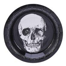 20 шт одноразовые тарелки, вечерние, страшные, с рисунком черепа, круглая посуда для Хэллоуина, бумажная тарелка для карнавала, ужина, банкета