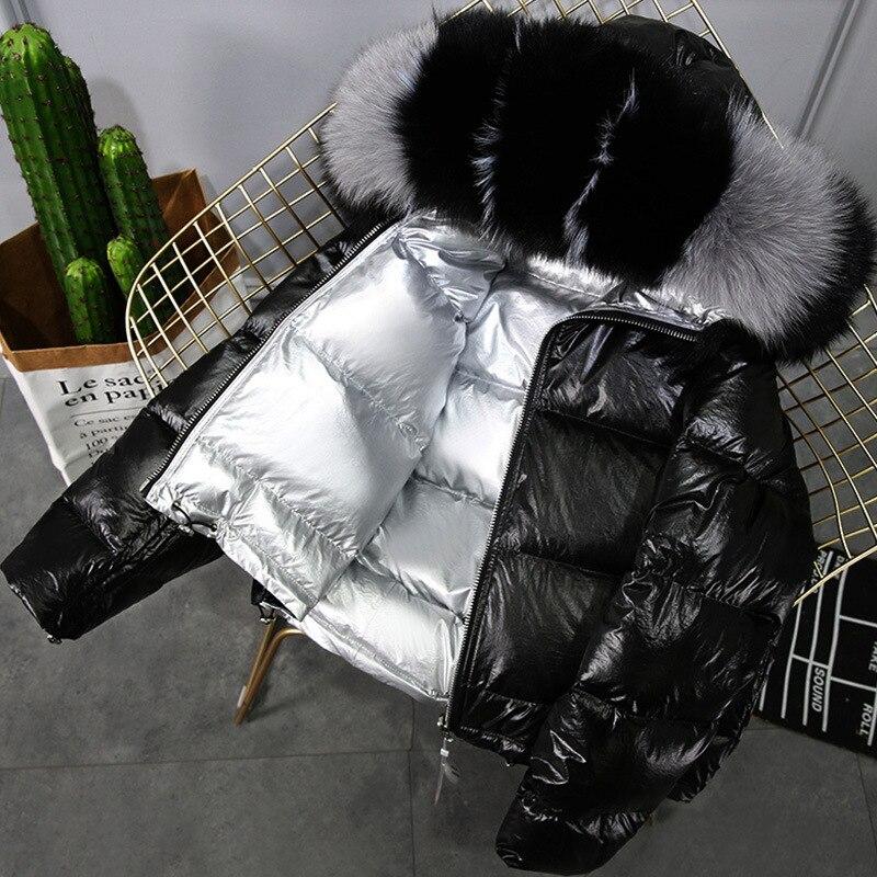 2019 Winter Jacket Women White Duck Down Jacket Big Real Fox Collar Hood Outwear Waterproof Loose Coat Thick Warm Down Parka