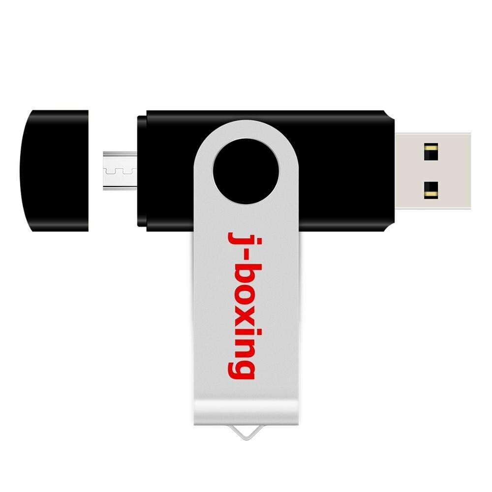 J-boxing Black OTG USB Flash 16GB Dual Port Pendrive 16gb Micro USB Flash Drives Memory Stick For Android Samsung Huawei Tablets