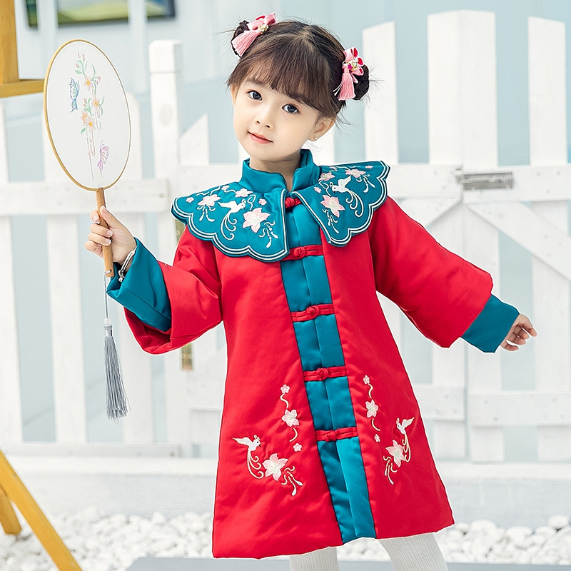 Chinese Traditional Girl's Hanfu Quilted Dress Keep Warm Children Embroidery Dress Kids Christmas Dress Princess New Year's Wear