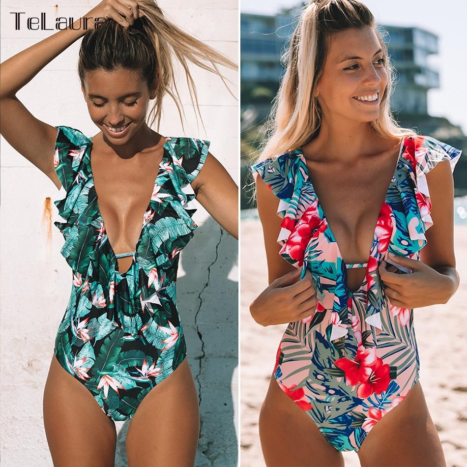2019 Sexy One Piece Swimsuit Push Up Swimwear Women Monokini Bodysuit Leaf Print Swim Suit Female Bathing Suit Summer Beach Wear