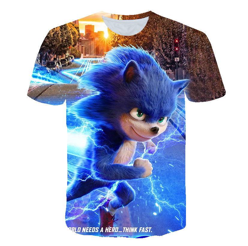 Funny T-shirts Sonic The Hedgehog 3D Baby Boys Girl High Quality Gift For Child Sonic Mario Kids Clothes Boys Clothes Camisetas