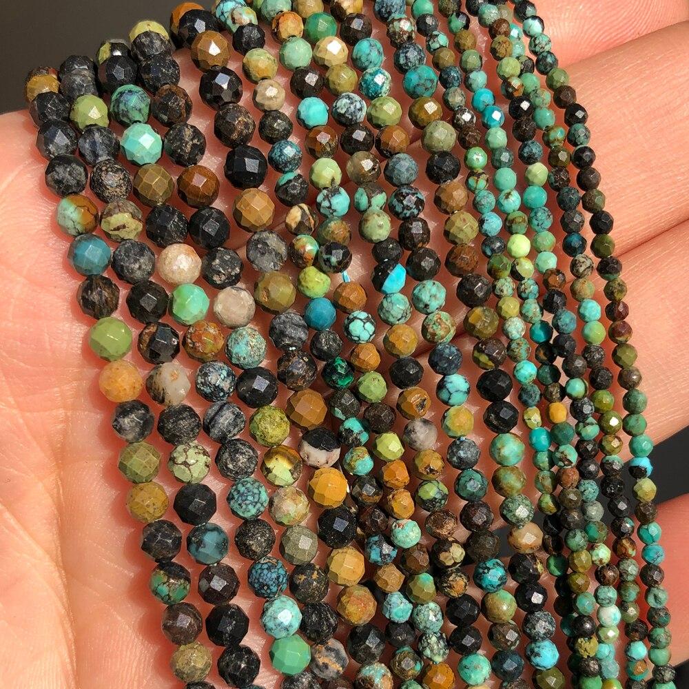Perles Turquoises africaines à facettes naturelles, rondes, amples, pour la fabrication de bijoux, accessoires de Bracelet, bricolage, 15 2 3 4mm