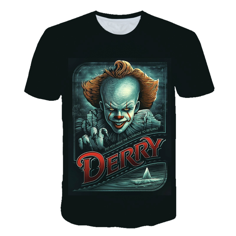Horror Movie It <font><b>2</b></font> Penny Wise Clown Joker 3D Print kids Tshirt boys/girls Hip Hop Streetwear Tee T <font><b>shirt</b></font> Boys Cool Clothes image