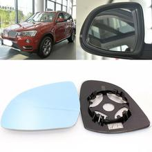 For BMW X3 X4 X5 Side View Door Mirror Blue Glass With Base Heated 1pair l r door wing mirror glass heated blue left right side for bmw x5 e53 99 06 3 0i 4 4i car styling rearview mirror heating