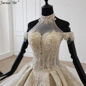Image 4 - Champagne Halter sin mangas sexy vestido de novia 2020 con cordones de lujo lentejuelas vestido de novia HX0054 Cusotm hecho