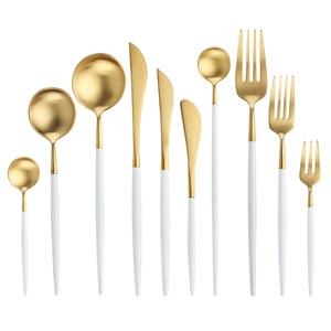 Image 5 - Juego de cubiertos de oro blanco, vajilla occidental de acero inoxidable 18/10, juego de cuchara, tenedor y cuchillo para el hogar, vajilla de palillos
