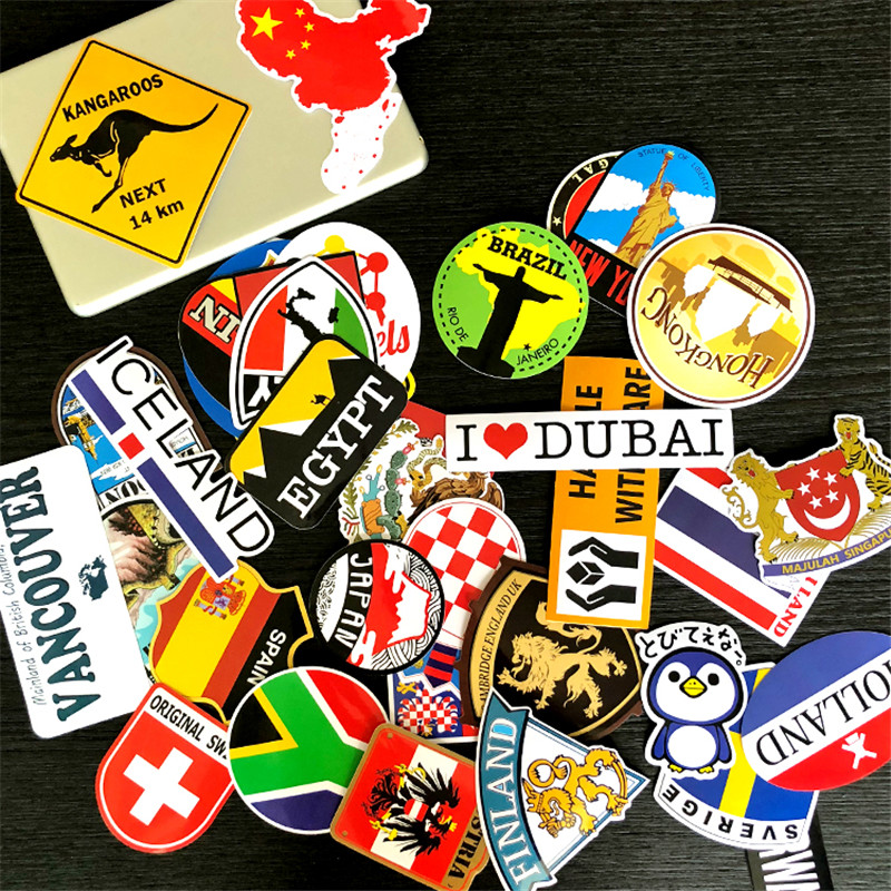 38 Pcs/Set National Flag Countries Stickers Waterproof PVC  Skateboard Stickers Fridge Laptop Luggage Journal Decorate For Kids