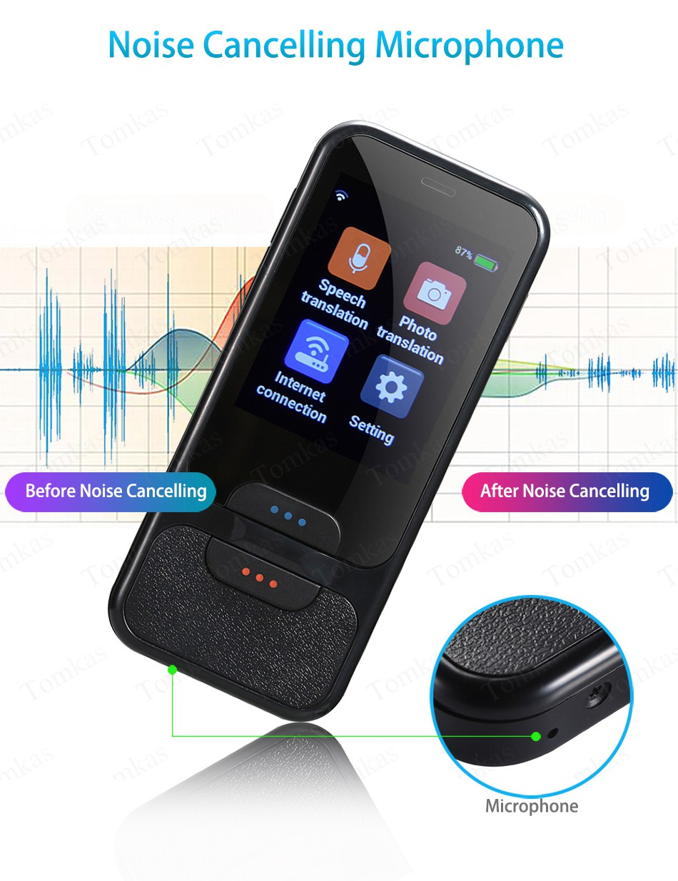 TOMKAS AI Smart Pocket Language Translator with 2.4 Inch Touch Screen and  WIFI for Multi language Voice and Photo Translation in Real Time 12