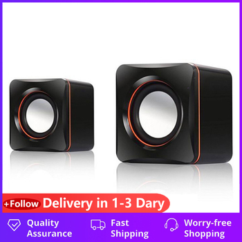 Portable Computer Speakers 2 Pcs USB Power Computer Speakers Stereo 3.5mm For Desktop PC Laptop Mini Wired Bass Sound Speaker portable usb 2 0 power 3 5mm for notebook desktop pc speaker headphones microphone headphones audio jack hy 218 mini plastic