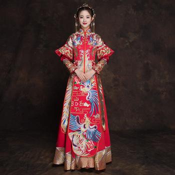 Klasyczny stójka Cheongsam małżeństwo garnitur haft Phoenix chińskie wesele sukienka tradycyjny Qipao starożytny Vestidos tanie i dobre opinie POLIESTER Suknie SATIN CN (pochodzenie) P91203 S M L XL XXL 5 Style Available Full Length Mandarin Collar Phoenix Chinese Traditional