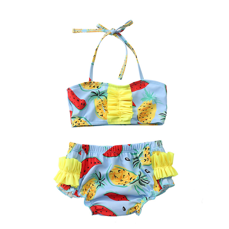 2019 New Style Europe And America Pineapple Baby Infant Small CHILDREN'S Split Type Leak-Proof Swimming Diaper Pants Swimsuit
