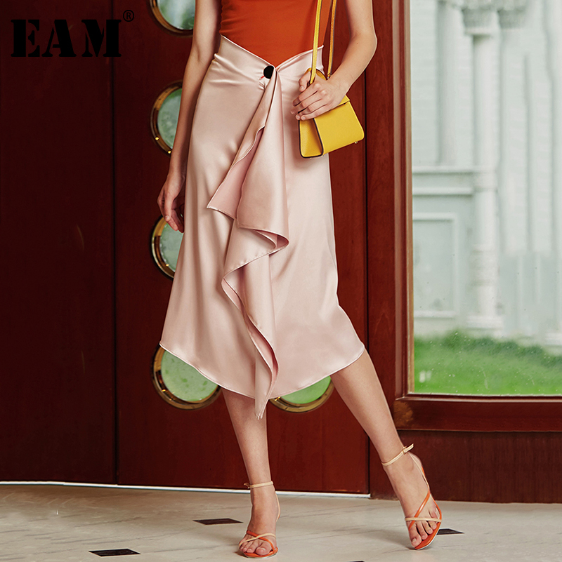 [EAM] High Waist Pleated Asymmetric Temperament  Half-body Skirt Women Fashion Tide All-match New Spring Autumn 2020 1B141