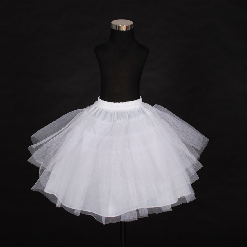 2020 Short Petticoat Kids Mini Tutu Waist Adjust 3 Layers Hoop Ruffle Girls Petticoat Crinoline Underskirt Wedding Accessories