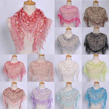 Fashion Lace Tassel Scarf Thin Sheer Triangle Scarf Women Hollow Out Floral Scarves Shawls Shawl Elegant See Through Red Pink 2019 fashion women s voile infinity scarves lightweight elegant various floral print polyester ring thin sheer loop small scarf