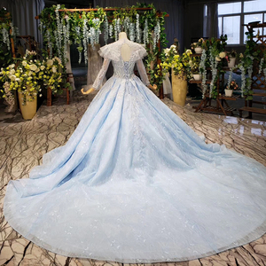 Image 2 - BGBW 2020 Long Sleeves Dresses Deep V Neck Beam Light Blue Heap Girl Beauty Pageant Dress Party Dresses Hollow Out Back