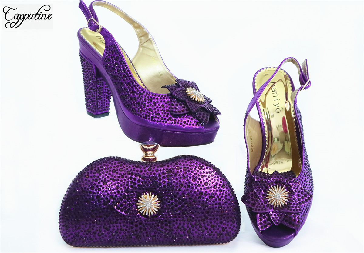 Purple Party Set African Lady Pump Shoes And Evening Handbag Set With Rhinestones GL1912-3  Heel Height 10.5CM