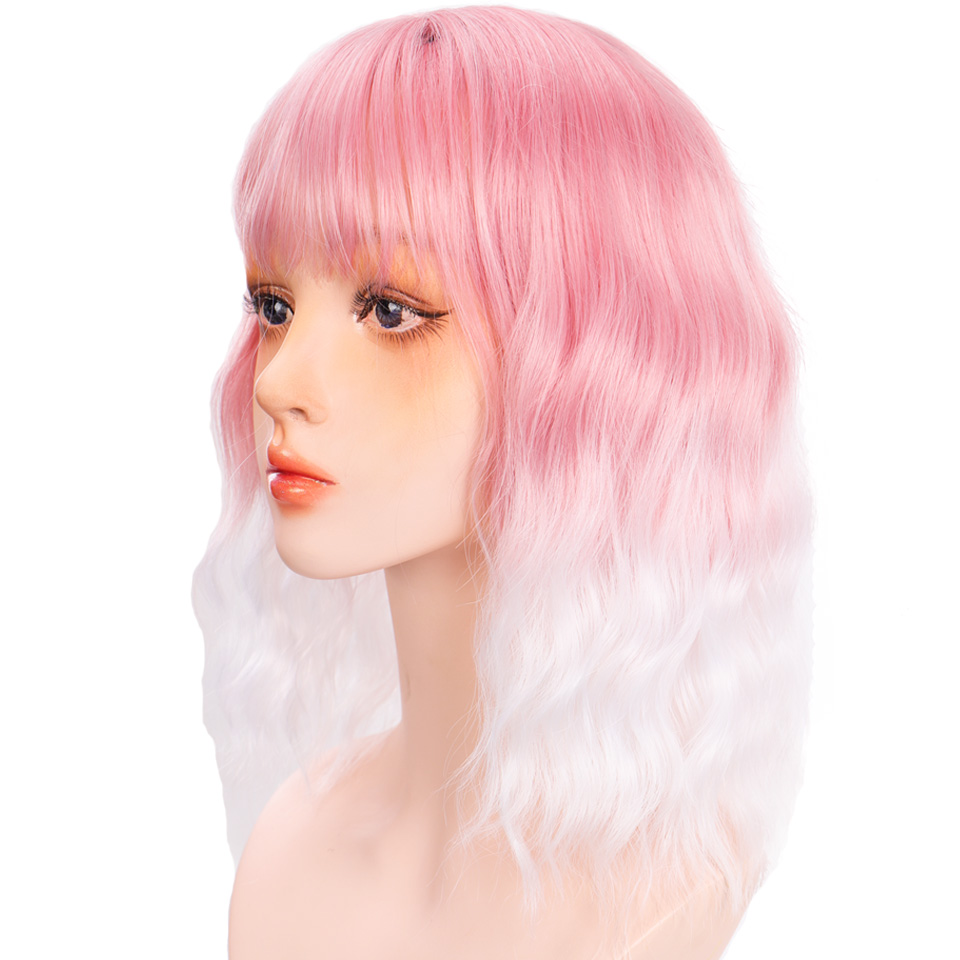 H5cdad839d604499c850de400781ed366Y - Short Water Wave Synthetic Hair Mixed Purple and pink Wigs Available Cosplay Wig For Women Heat Resistant Fiber Daily Bob Wig