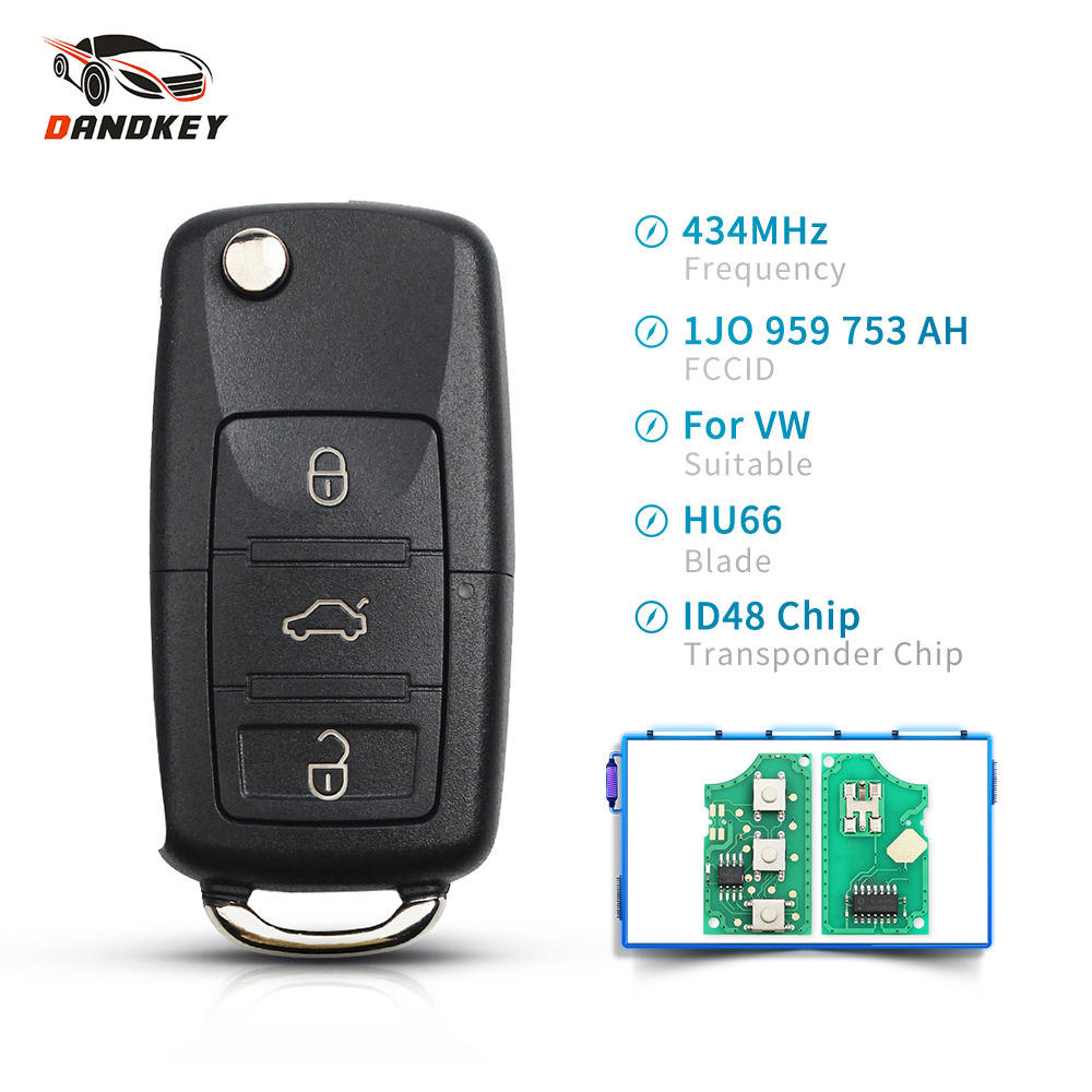 Dandkey Car <font><b>Remote</b></font> Folding Flid <font><b>Key</b></font> ASK 1J0959753DA 433MHZ ID48 For Vw Passat/Bora/Polo/<font><b>Golf</b></font>/Beetle 2001/2/3/4/5/6/<font><b>7</b></font>/8/9 image