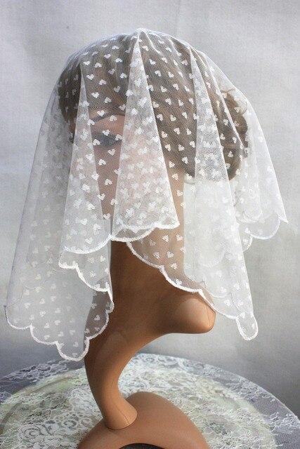 Revêtements de coiffe de tête déglise blanche, écharpe de voile de chapelle catholique, bandeau en dentelle, voile de mariage