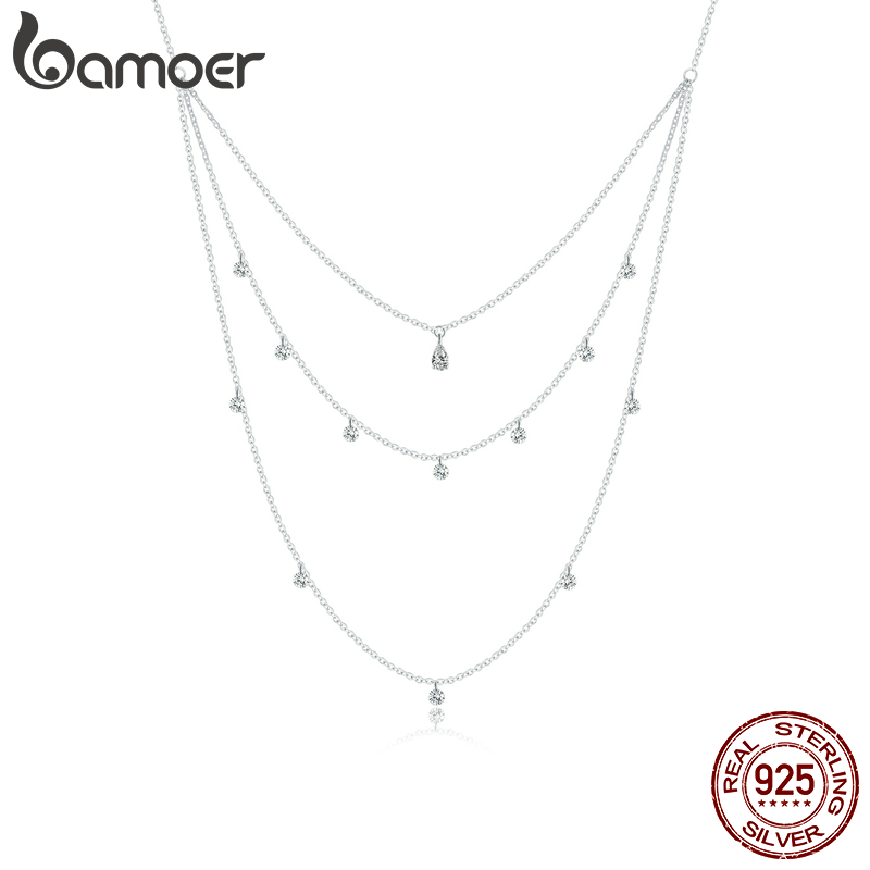 bamoer Little Daisy Adjustable Necklace for Women 925 Sterling silver CZ Three Layer Necklace 2020 New Mode necklace SCN429
