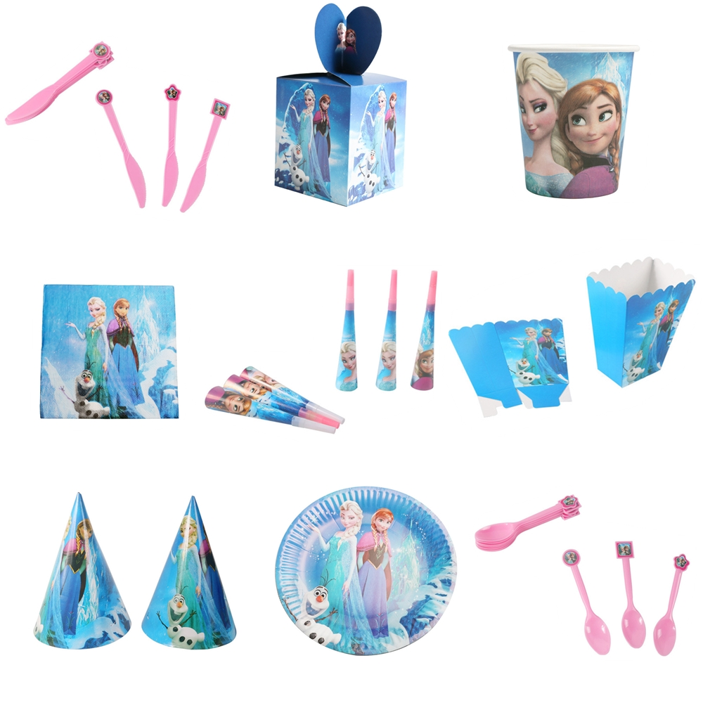 9pcs / Sets Disney Frozen Children's Birthday Decoration Disposable Tableware Spoon Fork Plate Tablecloth Birthday Dress Up